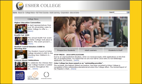 Esher website home page